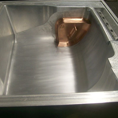 Female machined aluminum pressure form mold with flipper and slide